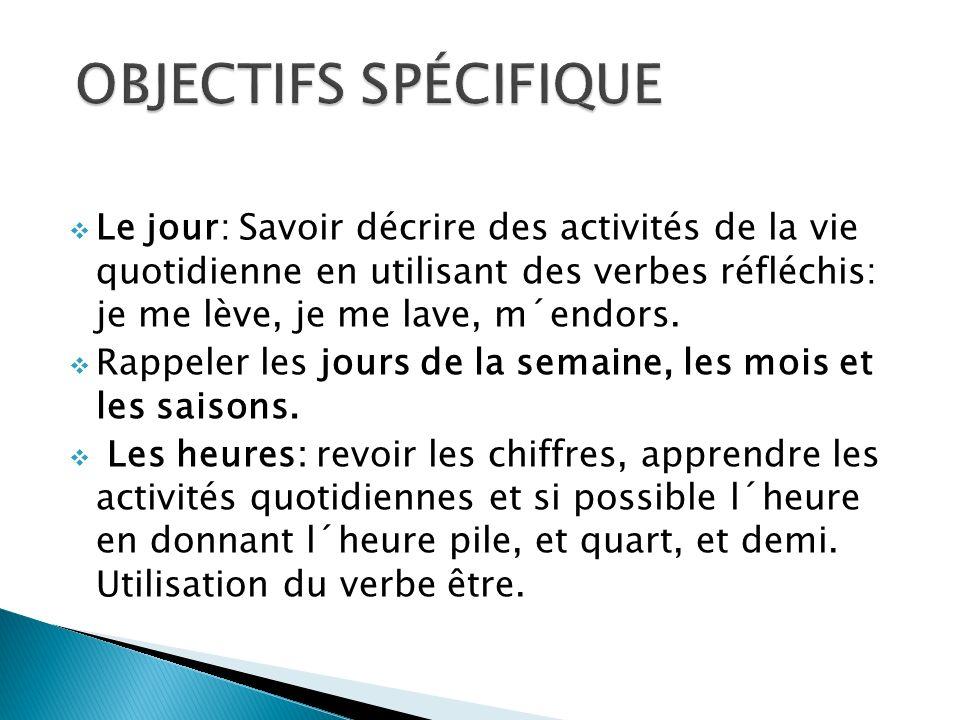 OBJECTIFS SPÉCIFIQUE