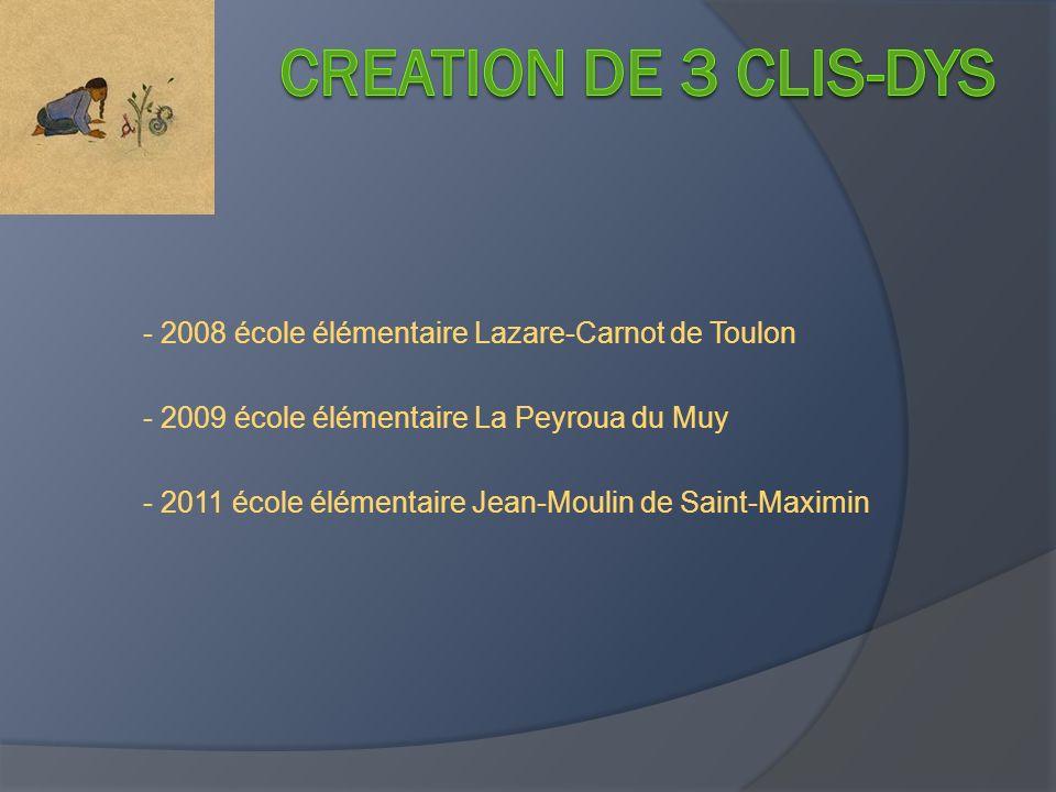 CREATION DE 3 CLIS-DYS - 2008 école élémentaire Lazare-Carnot de Toulon. - 2009 école élémentaire La Peyroua du Muy.
