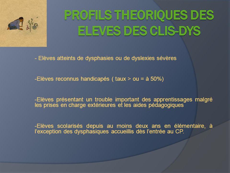 Profils THEORIQUES DES ELEVES DES CLIS-DYS