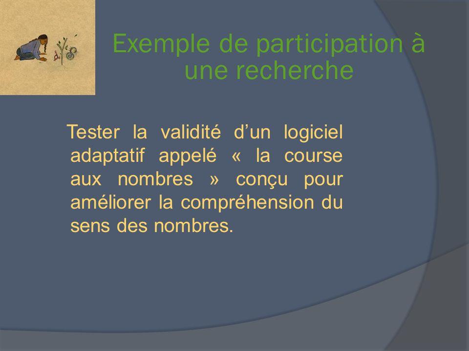 Exemple de participation à une recherche