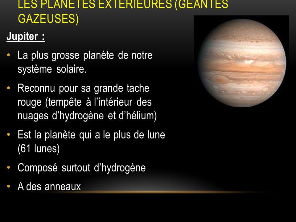 Les planètes extérieures (géantes gazeuses)