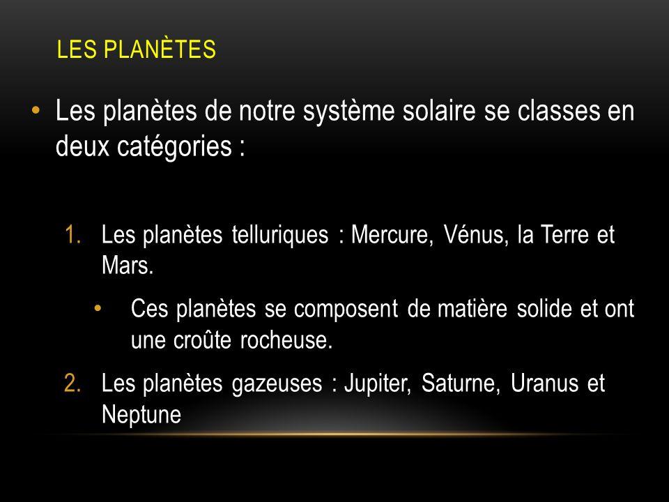Les planètes de notre système solaire se classes en deux catégories :