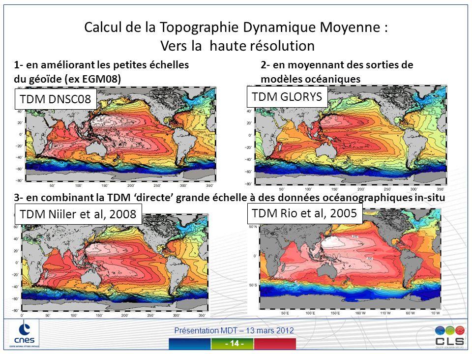 Calcul de la Topographie Dynamique Moyenne : Vers la haute résolution