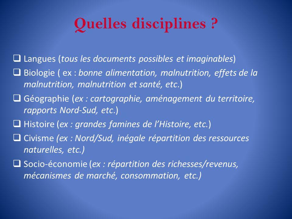 Quelles disciplines Langues (tous les documents possibles et imaginables)