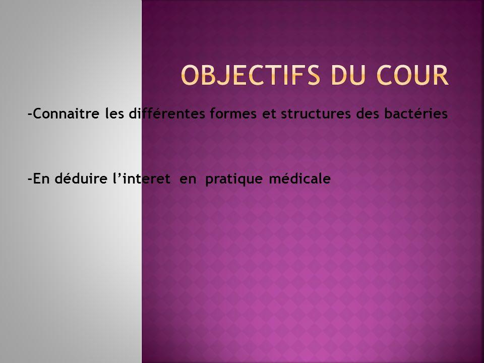 Objectifs du cour -Connaitre les différentes formes et structures des bactéries.