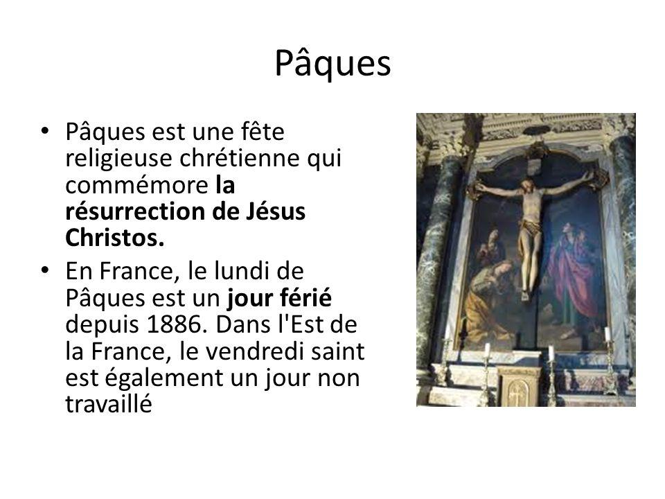 Pâques Pâques est une fête religieuse chrétienne qui commémore la résurrection de Jésus Christos.