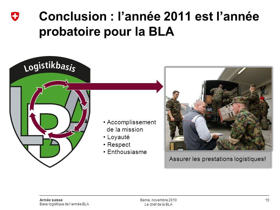 Conclusion : l'année 2011 est l'année probatoire pour la BLA