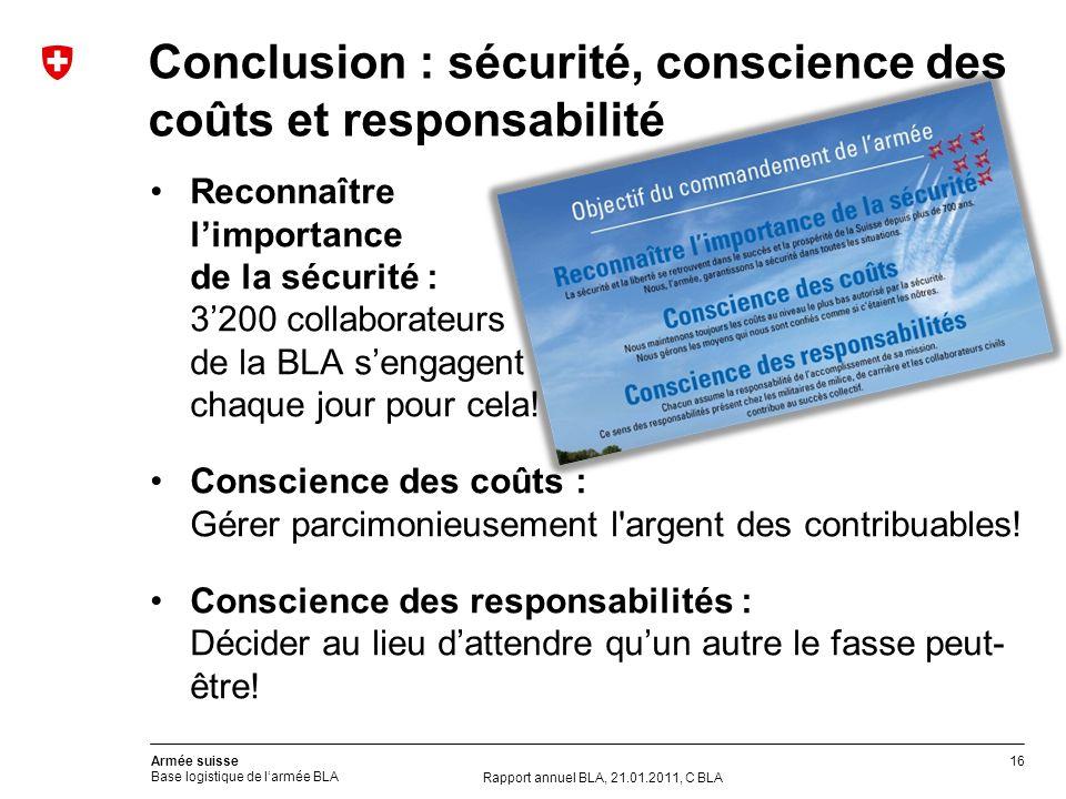Conclusion : sécurité, conscience des coûts et responsabilité