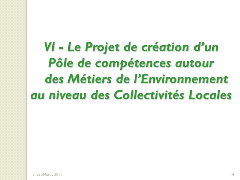 VI - Le Projet de création d'un Pôle de compétences autour des Métiers de l'Environnement au niveau des Collectivités Locales