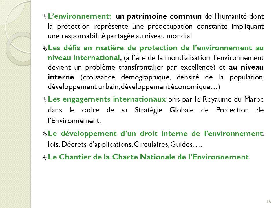 Le Chantier de la Charte Nationale de l'Environnement