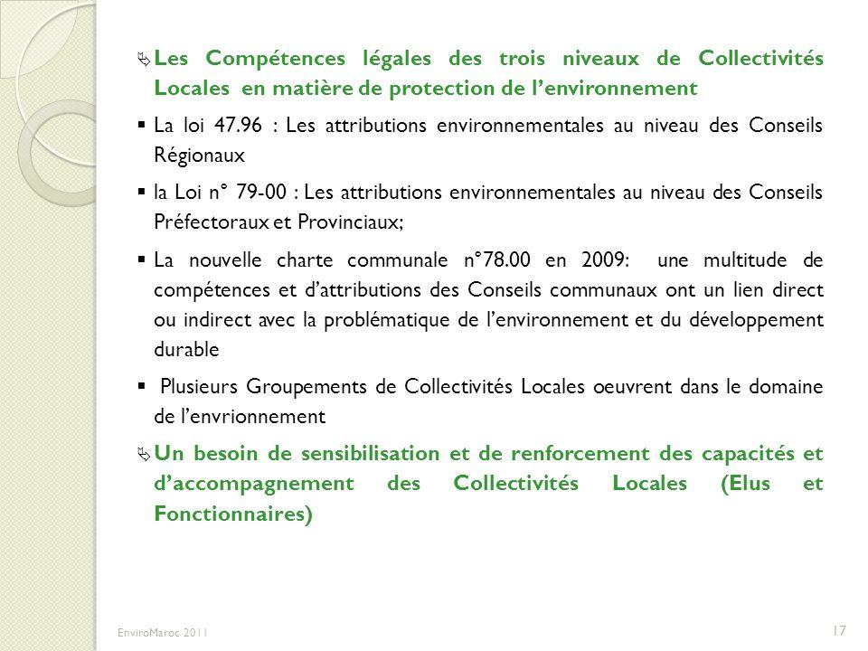 Les Compétences légales des trois niveaux de Collectivités Locales en matière de protection de l'environnement