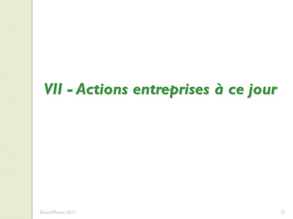 VII - Actions entreprises à ce jour