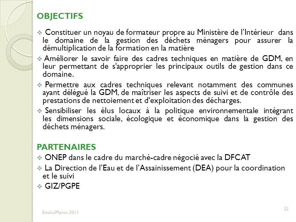 ONEP dans le cadre du marché-cadre négocié avec la DFCAT
