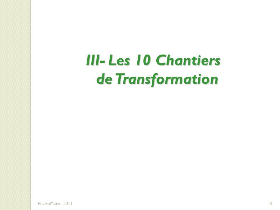 III- Les 10 Chantiers de Transformation DU DEVELOPPEMENT DES COMPETENCES