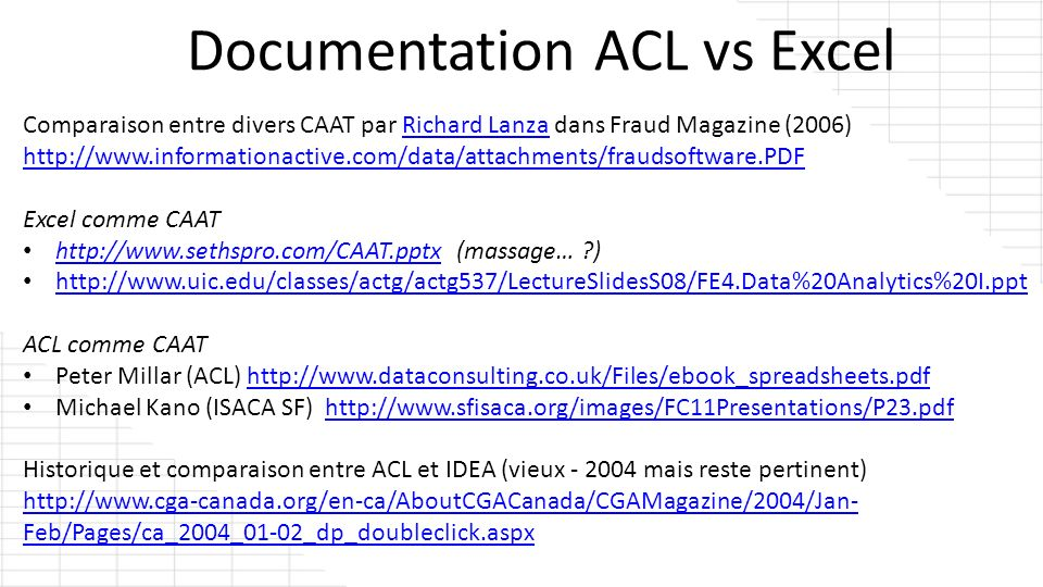 Documentation ACL vs Excel