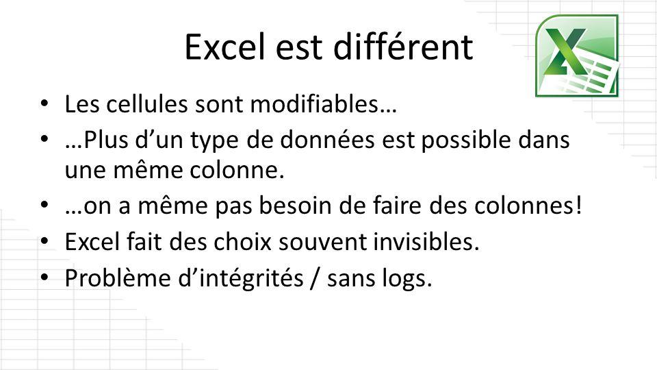 Excel est différent Les cellules sont modifiables…