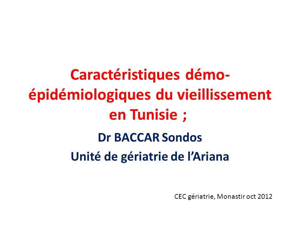 Caractéristiques démo-épidémiologiques du vieillissement en Tunisie ;