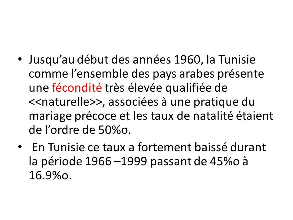 Jusqu'au début des années 1960, la Tunisie comme l'ensemble des pays arabes présente une fécondité très élevée qualifiée de <<naturelle>>, associées à une pratique du mariage précoce et les taux de natalité étaient de l'ordre de 50%o.
