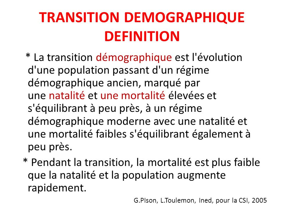 TRANSITION DEMOGRAPHIQUE DEFINITION
