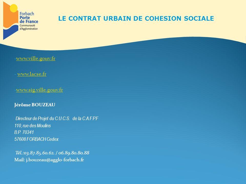LE CONTRAT URBAIN DE COHESION SOCIALE