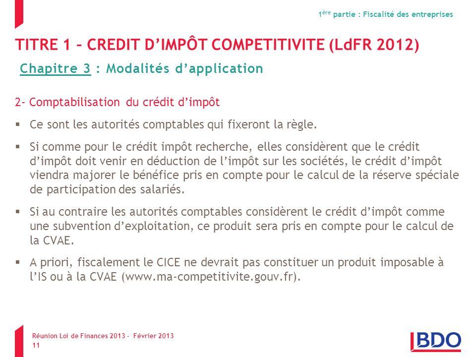 TITRE 1 – CREDIT D'IMPÔT COMPETITIVITE (LdFR 2012)