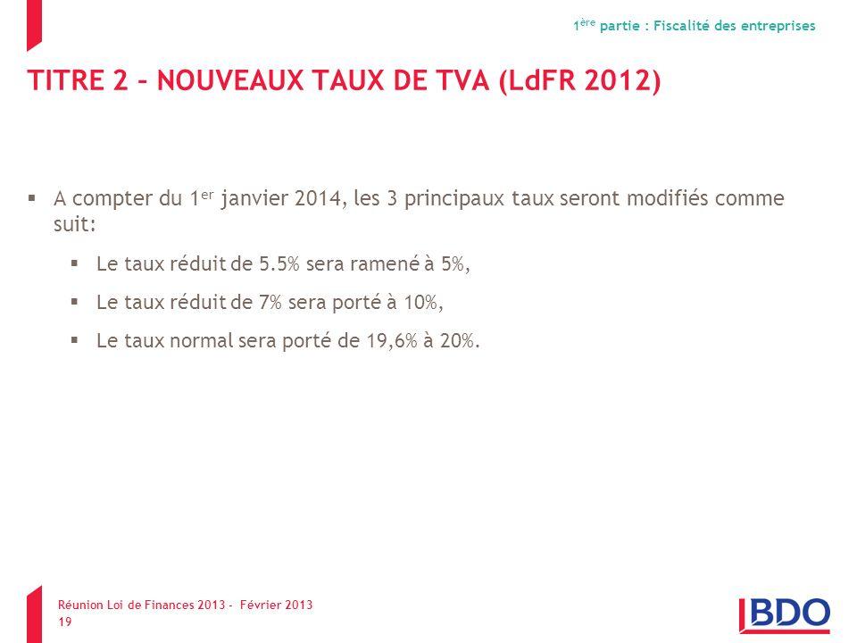 TITRE 2 – NOUVEAUX TAUX DE TVA (LdFR 2012)