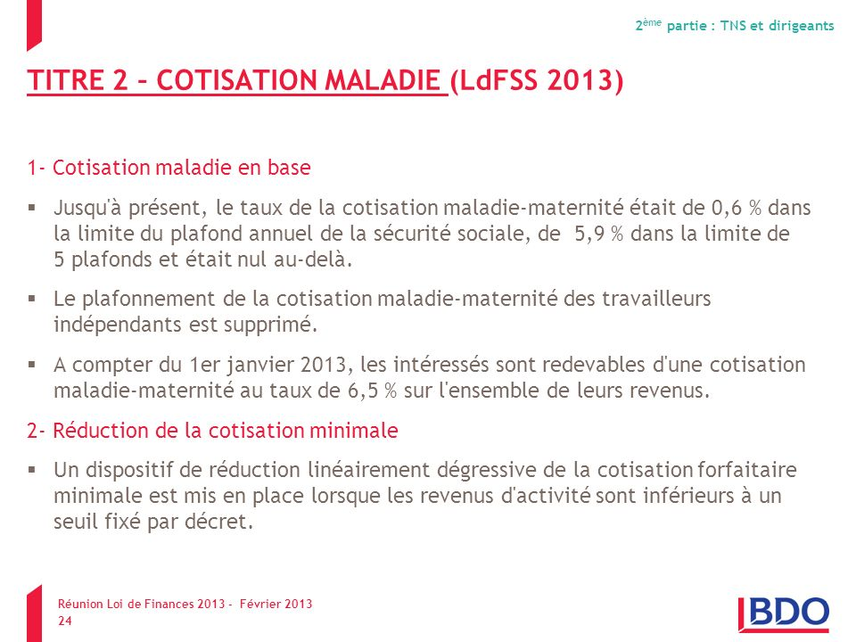 TITRE 2 – COTISATION MALADIE (LdFSS 2013)