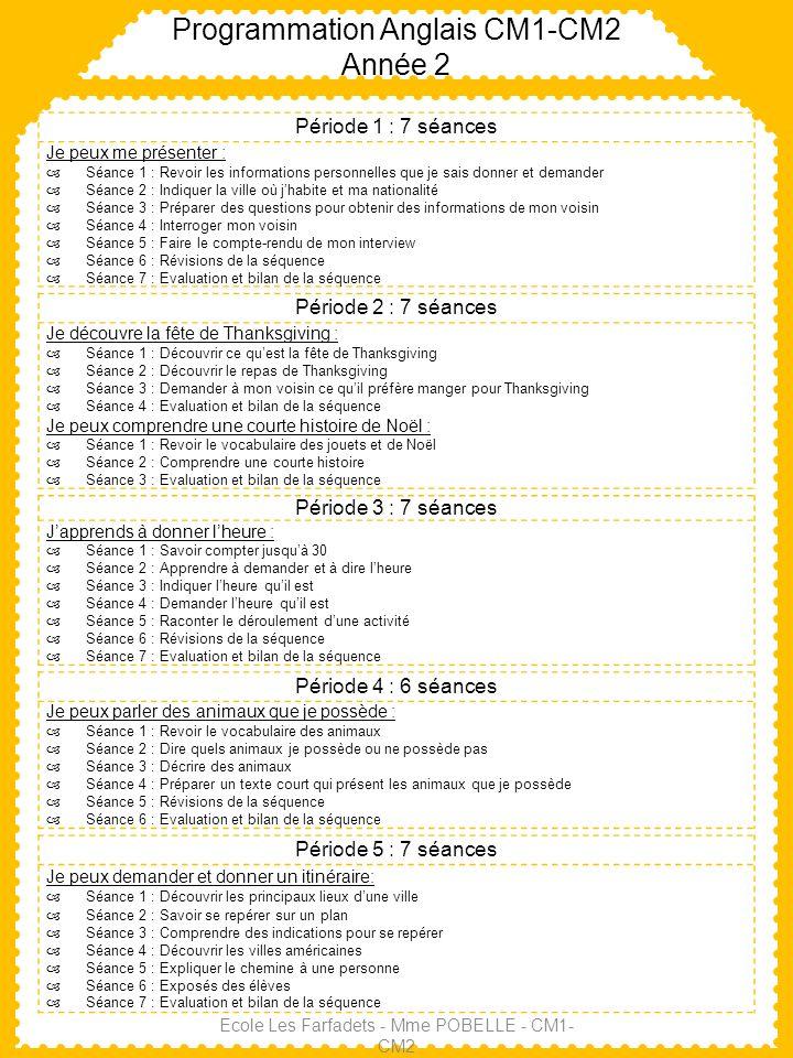 Programmation Anglais CM1-CM2 Année 2