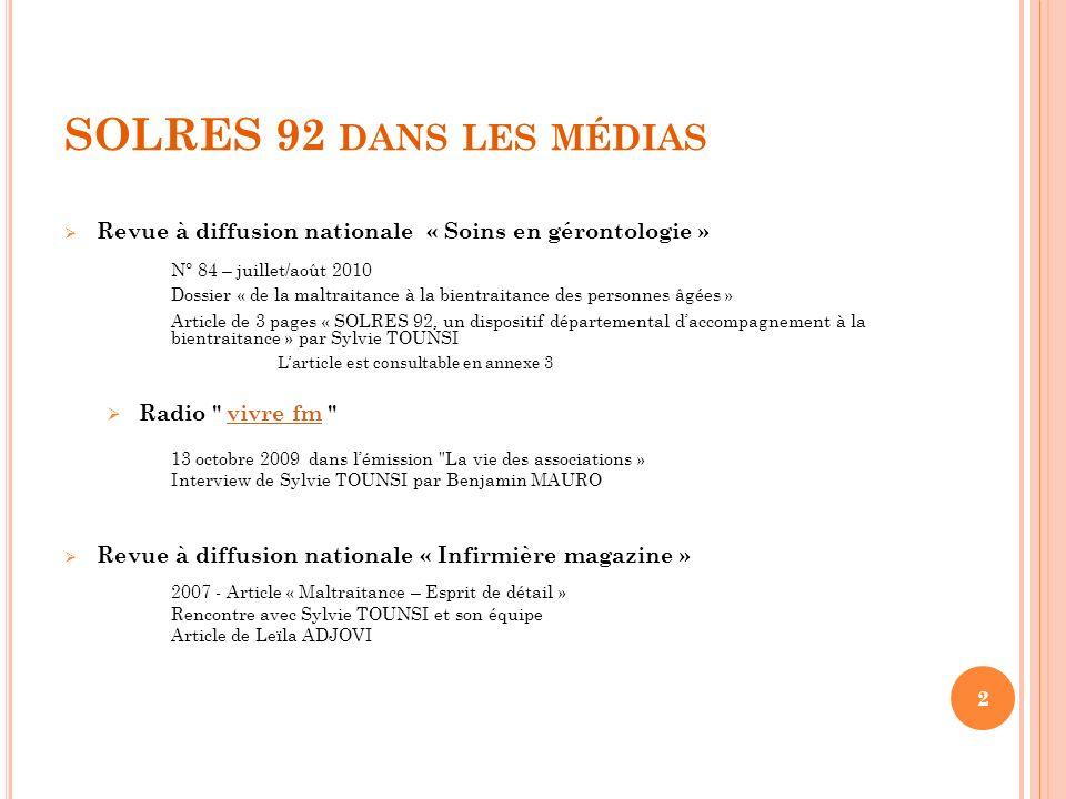 SOLRES 92 dans les médias N° 84 – juillet/août 2010