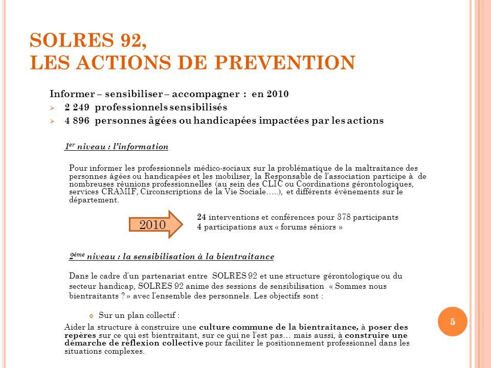 SOLRES 92, LES ACTIONS DE PREVENTION