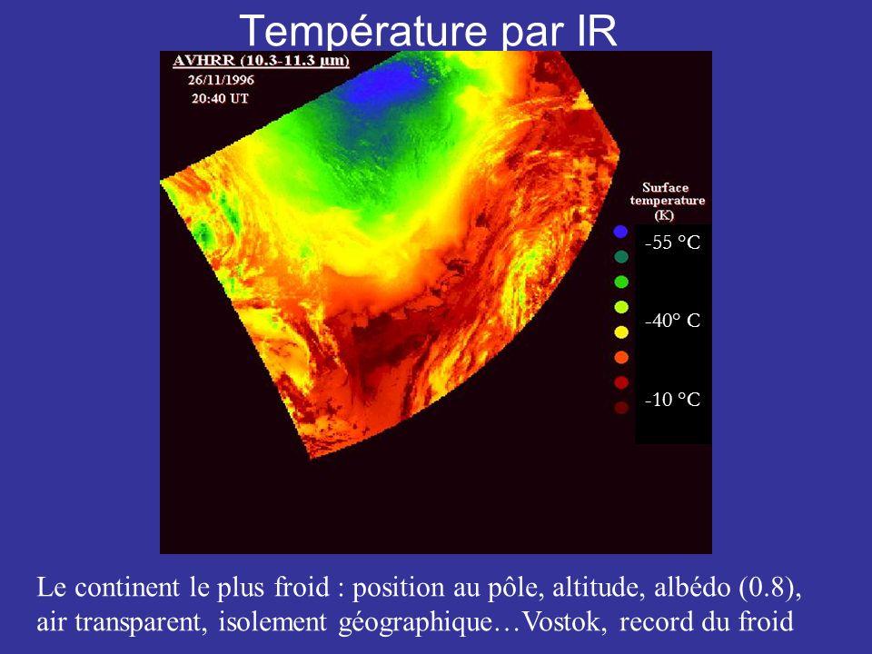 Température par IR -55 °C. -40° C. -10 °C.
