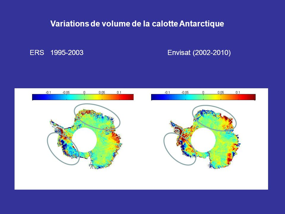 Variations de volume de la calotte Antarctique