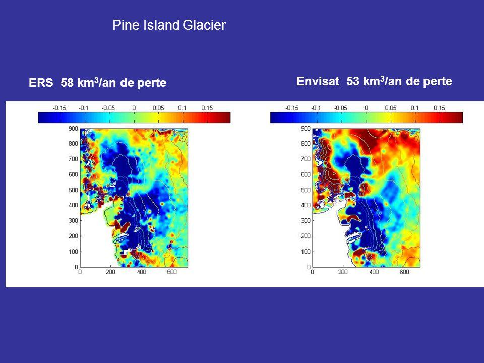 Pine Island Glacier Envisat 53 km3/an de perte ERS 58 km3/an de perte