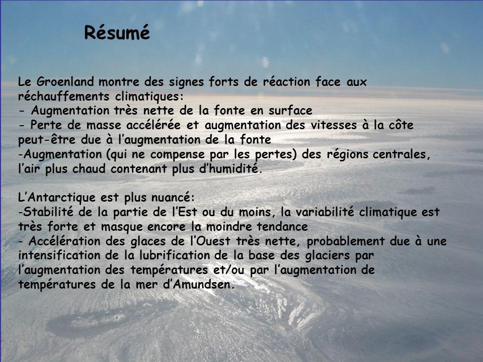 Résumé Le Groenland montre des signes forts de réaction face aux réchauffements climatiques: - Augmentation très nette de la fonte en surface.