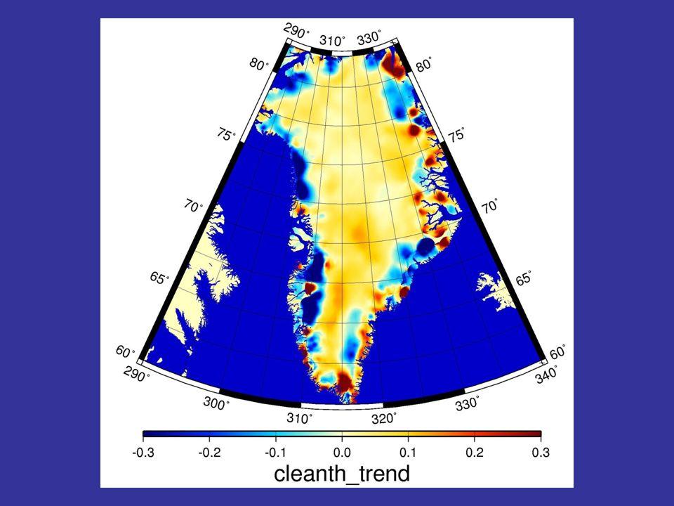 Variation du bilan de masse vue par l'altimètre d'Envisat: sur la cote, cela s'amincit très vite, au contraire à l'interieur cela gonfle un peu car l'air plus chaud contient plus d'humidité et il neige plus au centre.