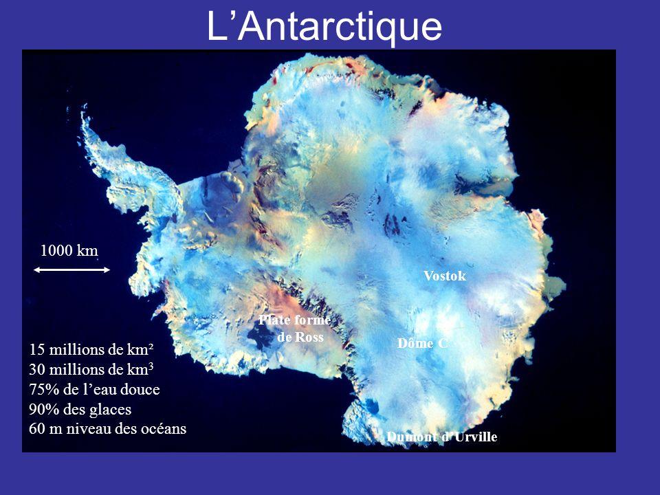 L'Antarctique 1000 km 15 millions de km² 30 millions de km3