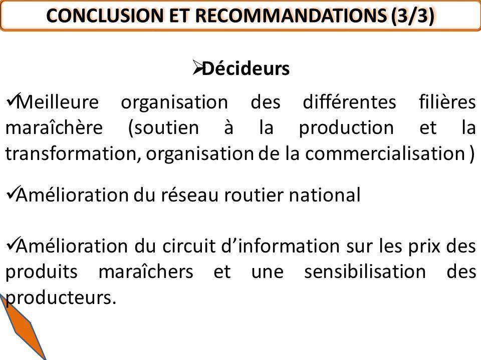 CONCLUSION ET RECOMMANDATIONS (3/3)