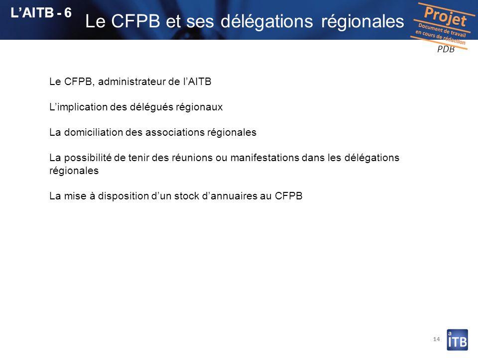 Le CFPB et ses délégations régionales