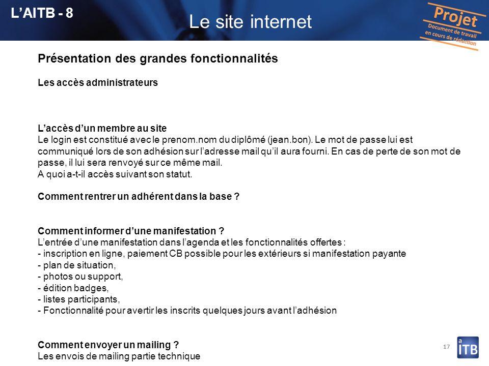 Le site internet L'AITB - 8 Présentation des grandes fonctionnalités