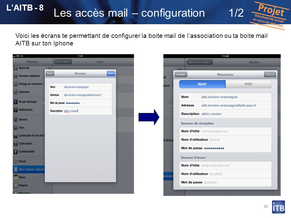 Les accès mail – configuration 1/2