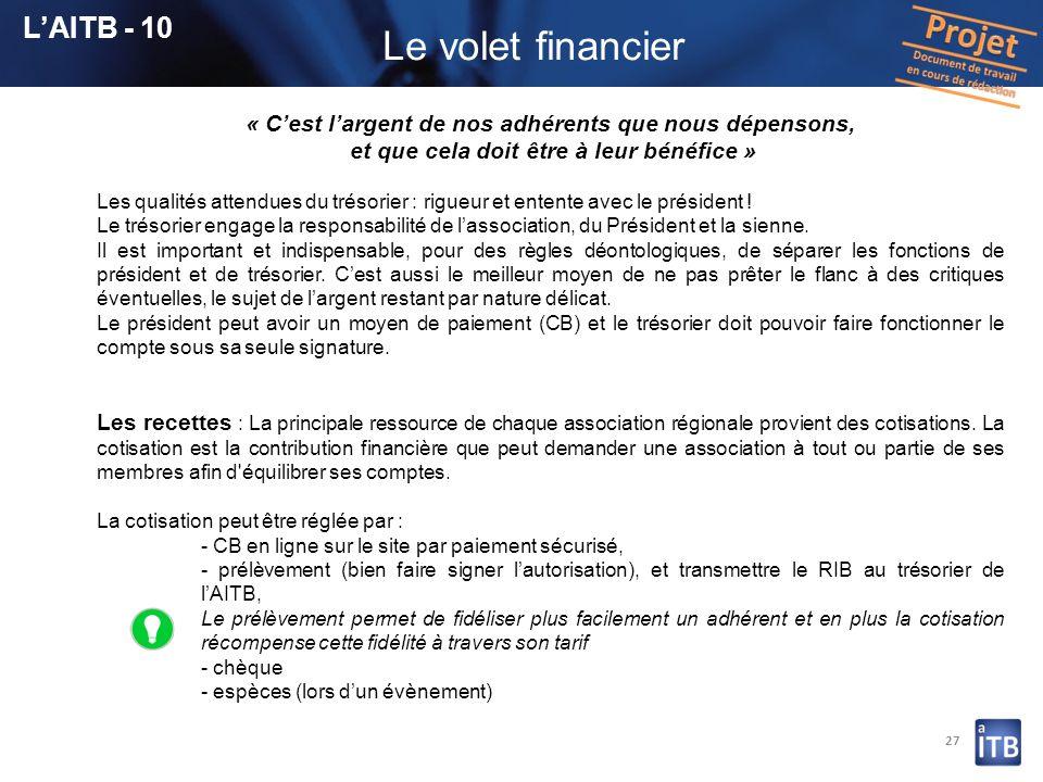 Le volet financier L'AITB - 10