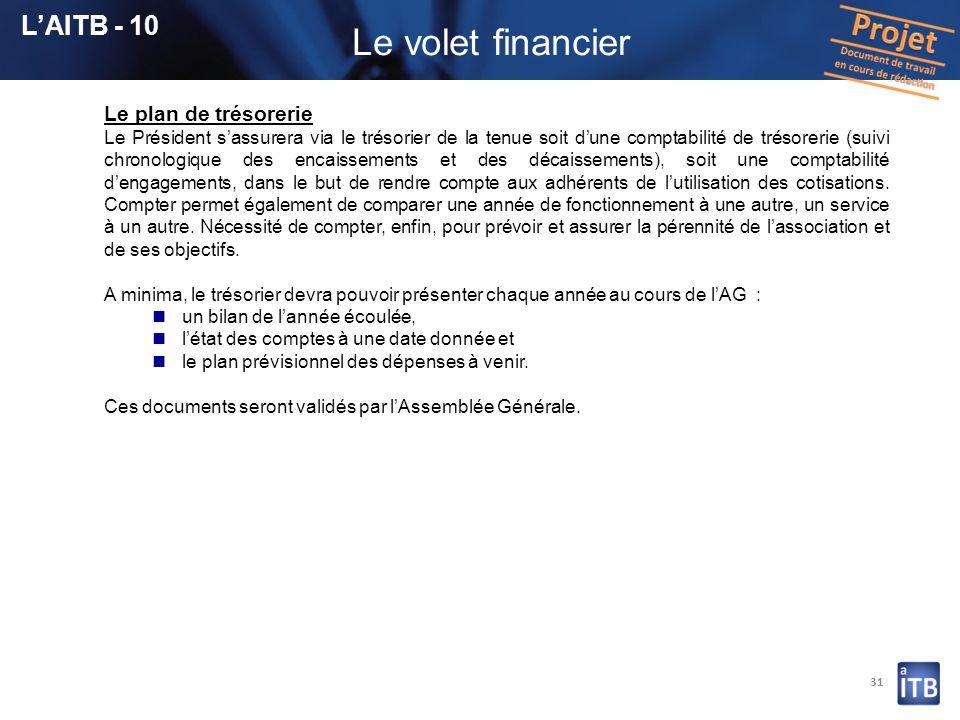 Le volet financier L'AITB - 10 Le plan de trésorerie