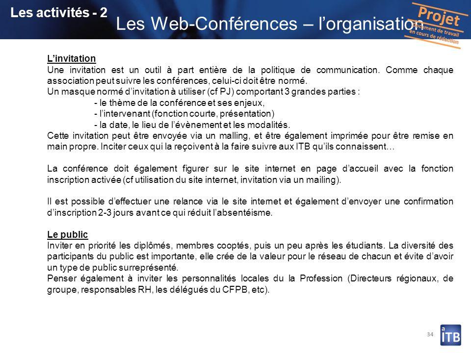 Les Web-Conférences – l'organisation