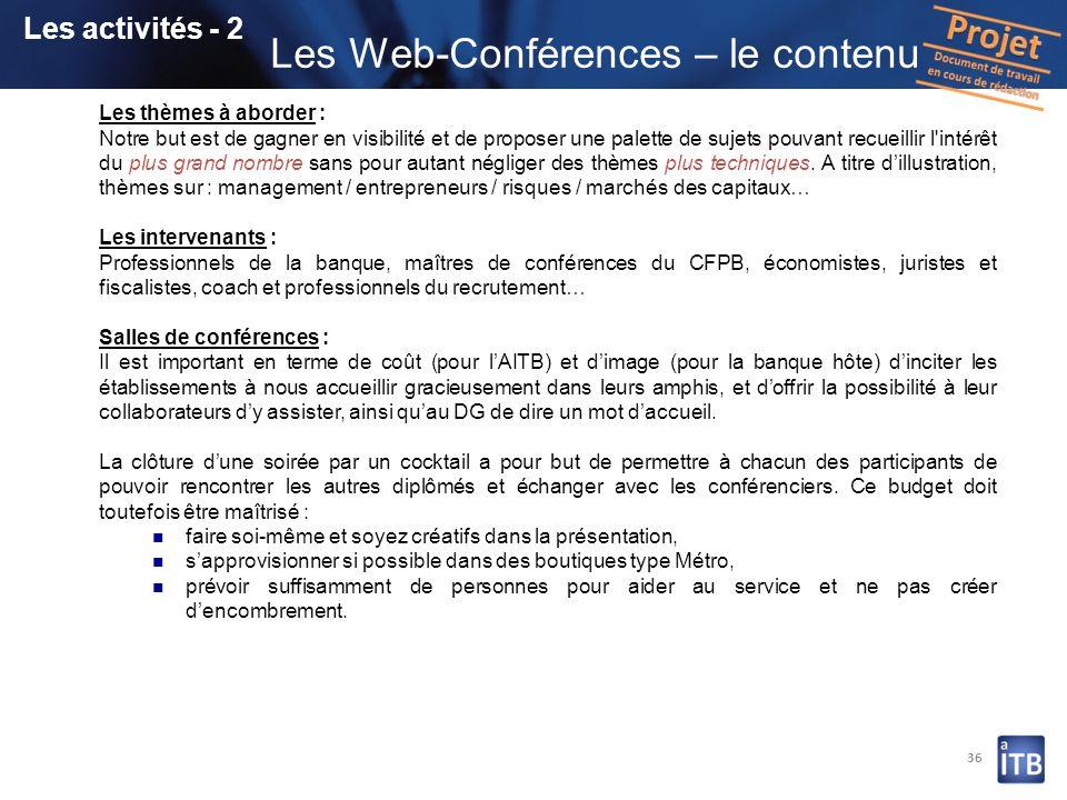 Les Web-Conférences – le contenu