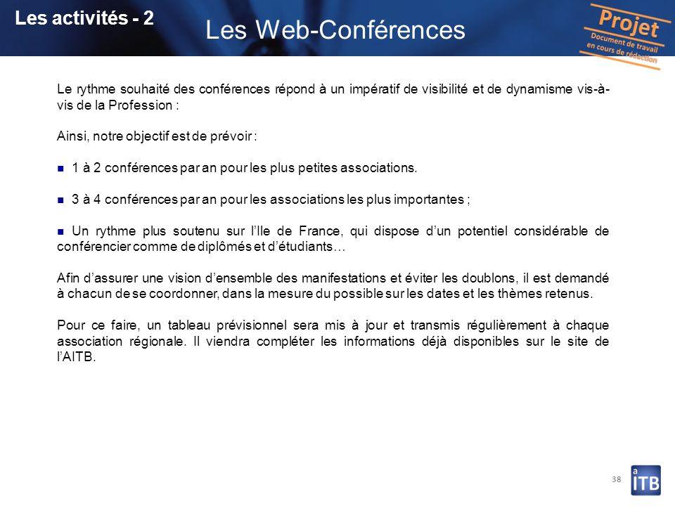 Les Web-Conférences Les activités - 2