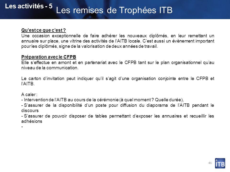 Les remises de Trophées ITB