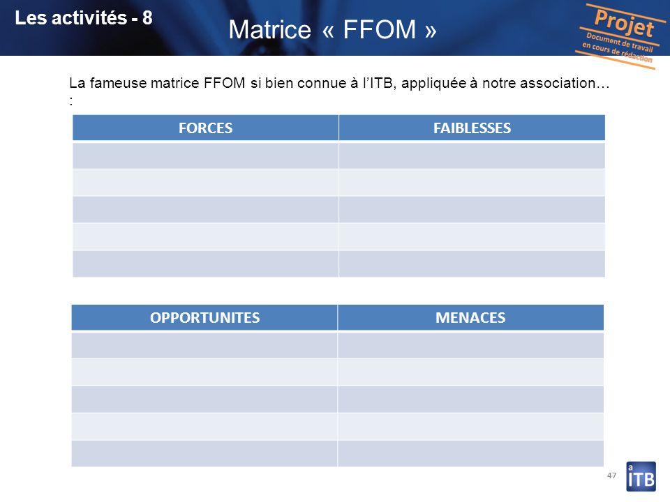 Matrice « FFOM » Les activités - 8 FORCES FAIBLESSES OPPORTUNITES
