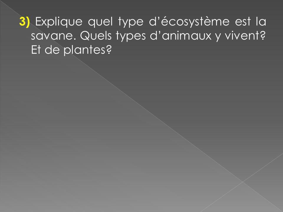 3) Explique quel type d'écosystème est la savane