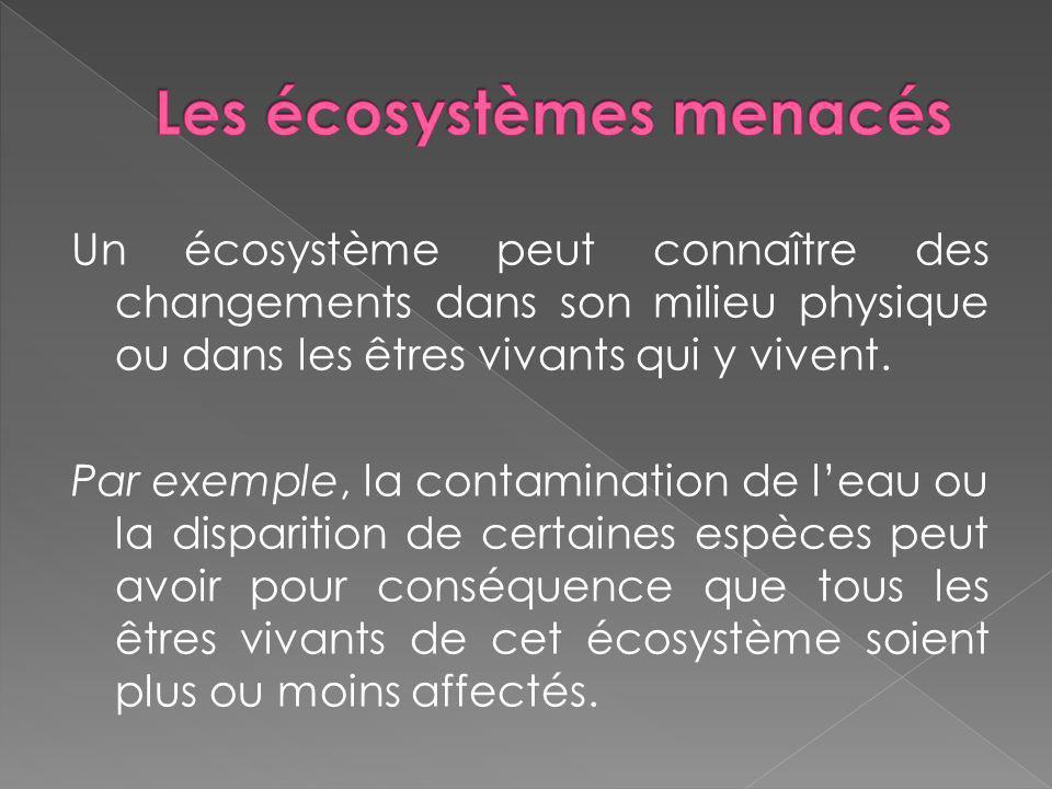 Les écosystèmes menacés