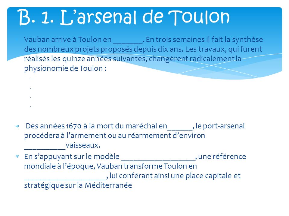 L arsenal de toulon par vauban dossier pr paratoire ppt - Place de port disponible mediterranee ...